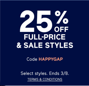 25% GAP full price and sale items