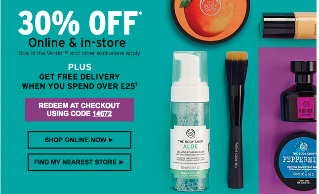30% off hundreds of products at The Body Shop