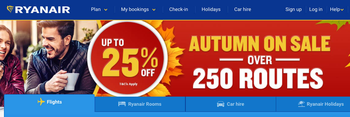 Ryanair Flight Sale - up to 25% off 250 routes