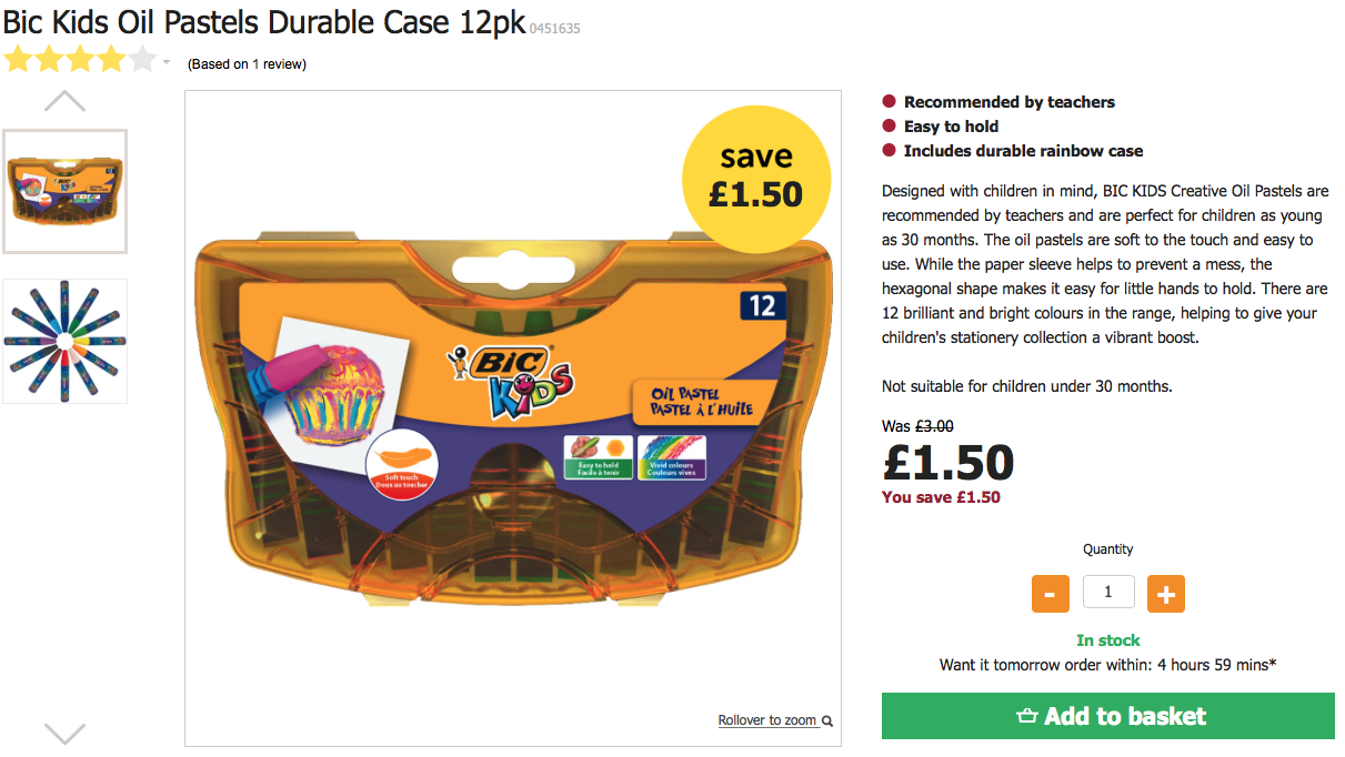 Bic Kids Oil Pastels Durable Case 12pk Was £3 Now £1.50