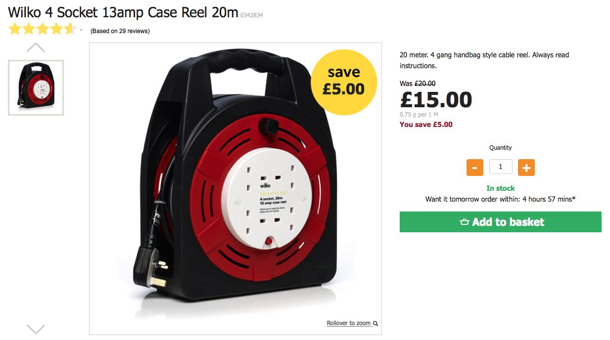 Wilko 4 Socket 13amp Case Reel 20m Was £20 Now £15
