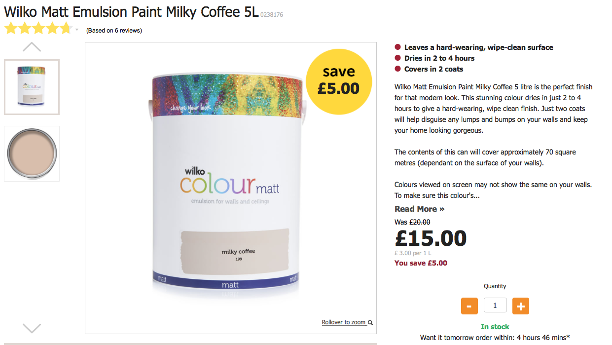 Wilko Matt Emulsion Paint Milky Coffee 5L Was £20 Now £15