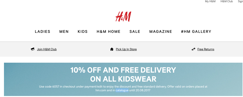 10% on kids' clothes and free shipping
