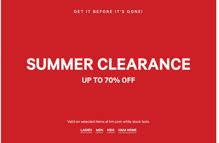 Clearance sale at H&M - up to 75% off