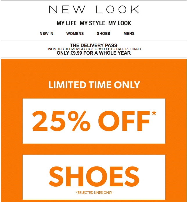 25% off shoes at New Look