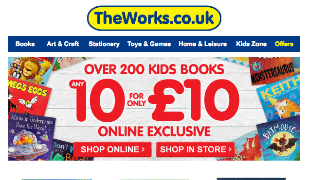10 children's books for £10 at The Works