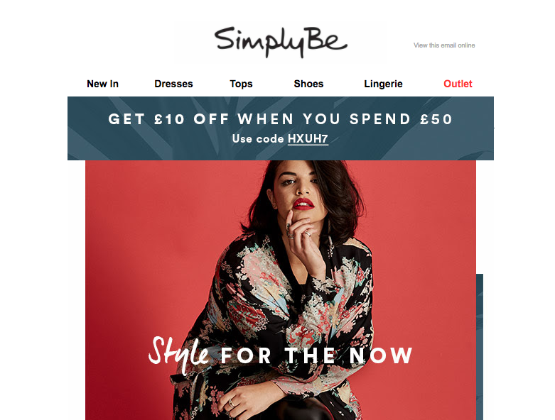 Get £10 off when you spend £50 at SimplyBe