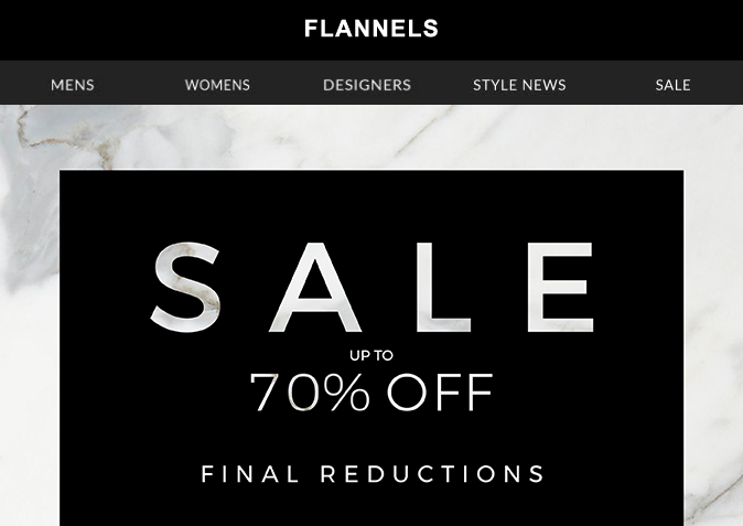 Up to 70% off sale - Flannels