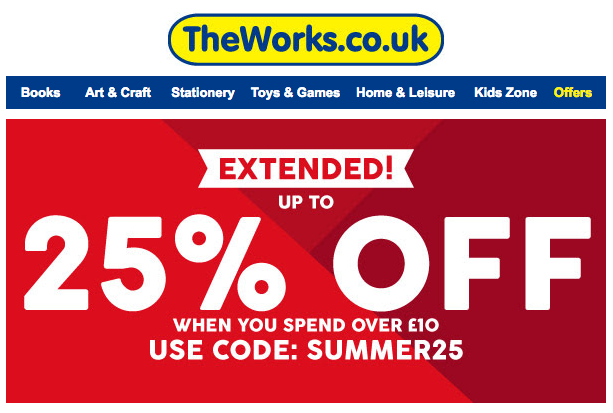 The Works - 25% off* when you use code SUMMER25