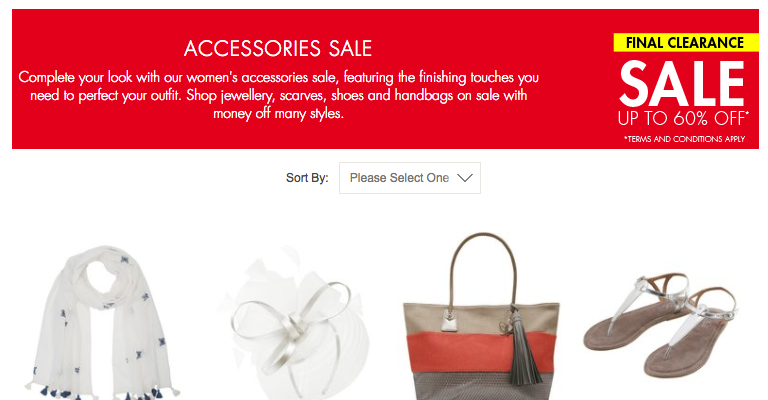60% off accessories at M&Co