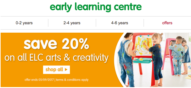 20% off all arts and crafts at ELC