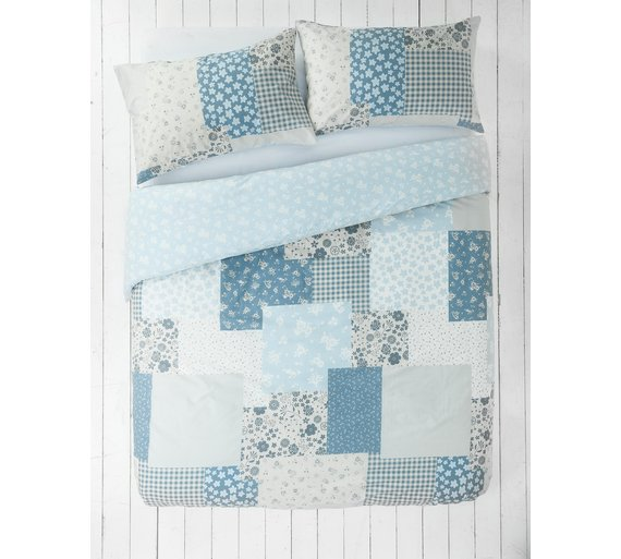 Argos Clearance: HOME Blue Patchwork Bedding Set - Single - £4.99