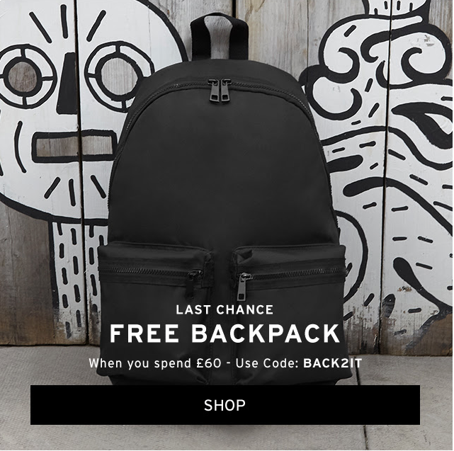 Free rucksack when you spend over £60 at Topman
