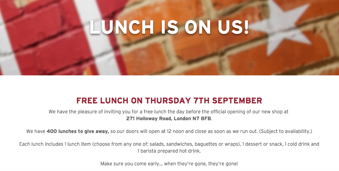 Free lunch at Pret A Manger on Holloway Road, London 07/09/2017 from 12pm