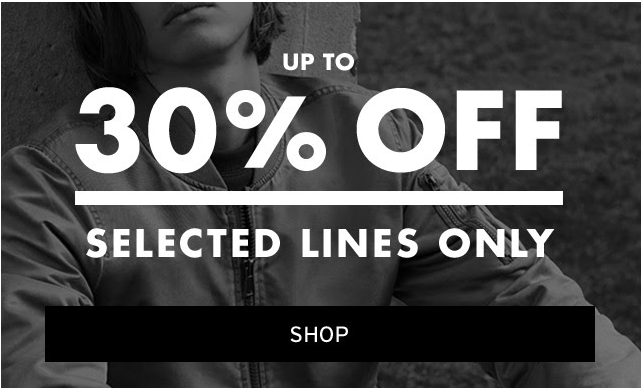 30% off selected lines at Topman