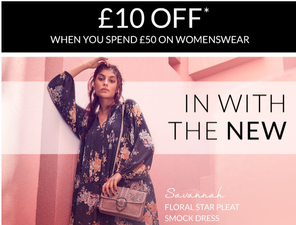 £10 off when you spend £50 at Debenhams