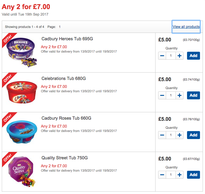 Two for £7 on Roses, Heroes, Quality Street, Celebrations at Tesco