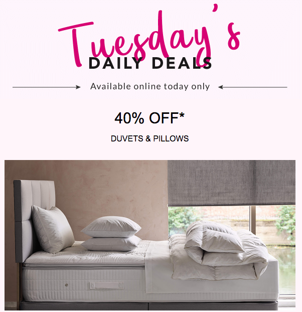 40% of pillows and duvets at Debenhams