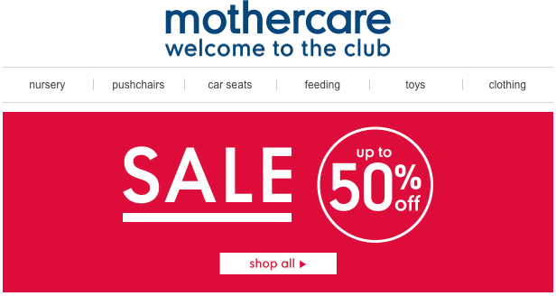 Up to 50% off at Mothercare