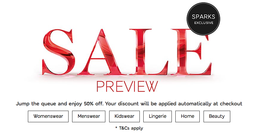 M&S 50% off preview sale