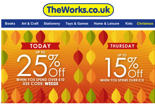 25% off at The Works *TODAY ONLY*